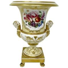 Coalport Campana Porcelain Vase Urn Hand Painted Still Life Flowers 19th Century