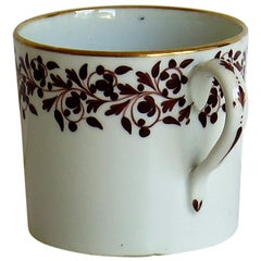 Coalport Coffee Can Porcelain Hand Painted Trailing Vine Pattern, circa 1810