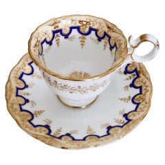 Coalport Coffee Cup and Saucer, Adelaide Shape, circa 1835