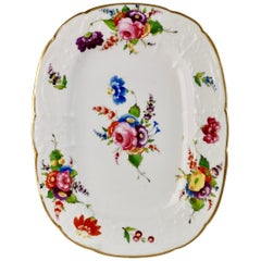 Coalport Dessert Dish, Swansea Style Flowers and C-scroll Moulding, circa 1820