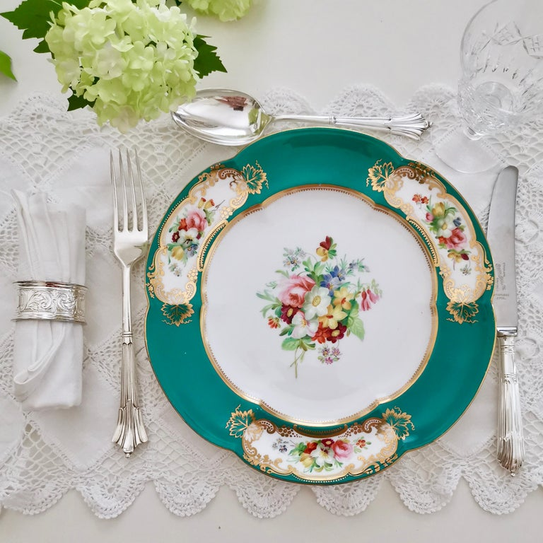 This is a stunning dessert plate made by Coalport in circa 1860. This plate would have belonged to a large dessert service. It is very possible that this plate was painted by the famous painter Thomas Dixon.  Coalport was one of the leading