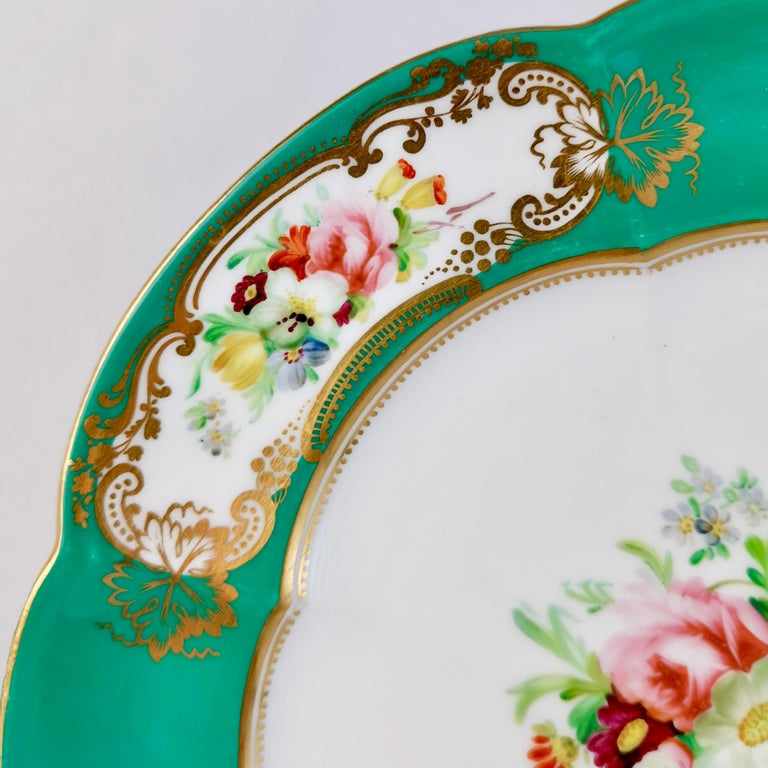 English Coalport Dessert Plate, 6-Lobed Teal with Hand Painted Flowers, circa 1860 For Sale