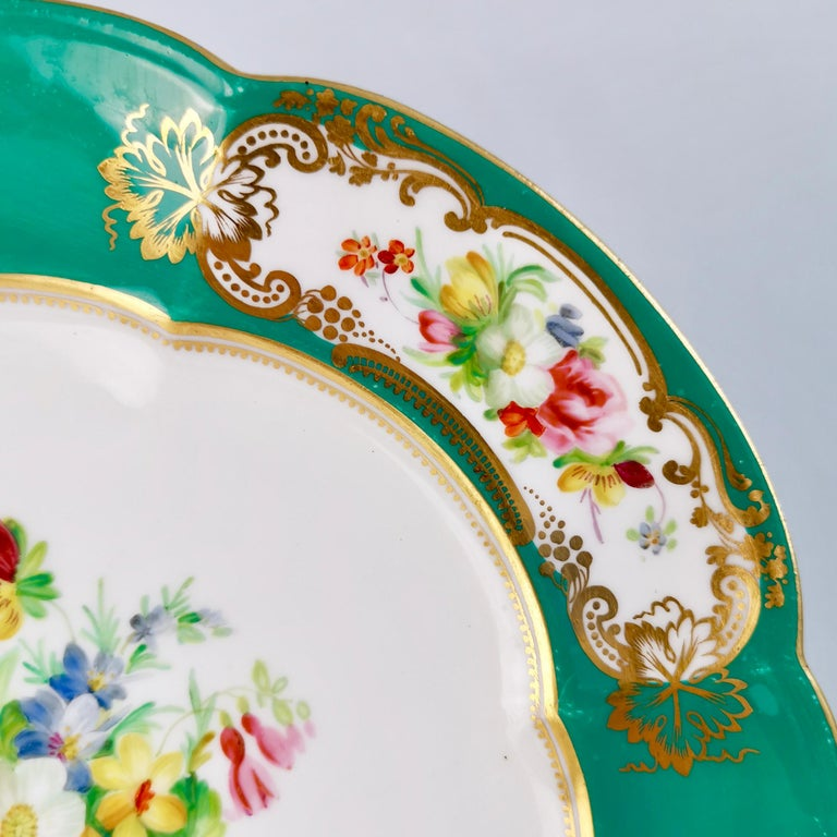 Hand-Painted Coalport Dessert Plate, 6-Lobed Teal with Hand Painted Flowers, circa 1860 For Sale