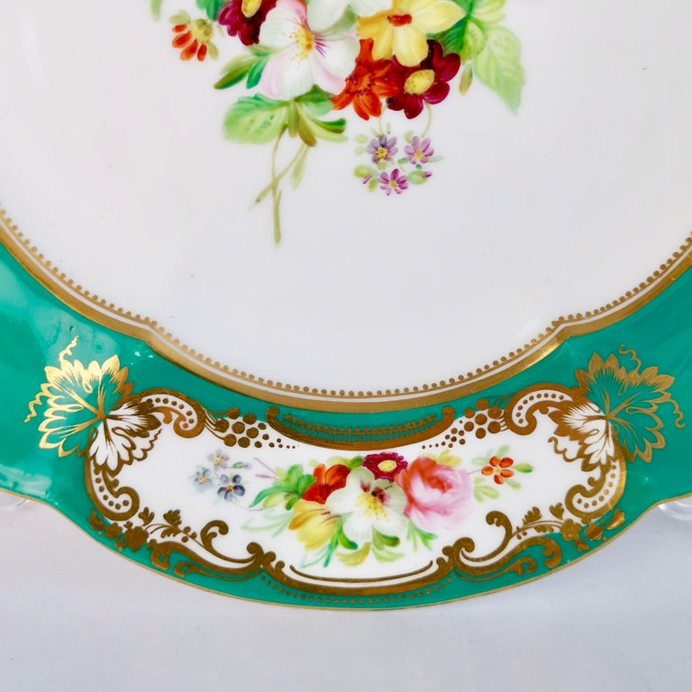 Coalport Dessert Plate, 6-Lobed Teal with Hand Painted Flowers, circa 1860 In Good Condition For Sale In London, GB
