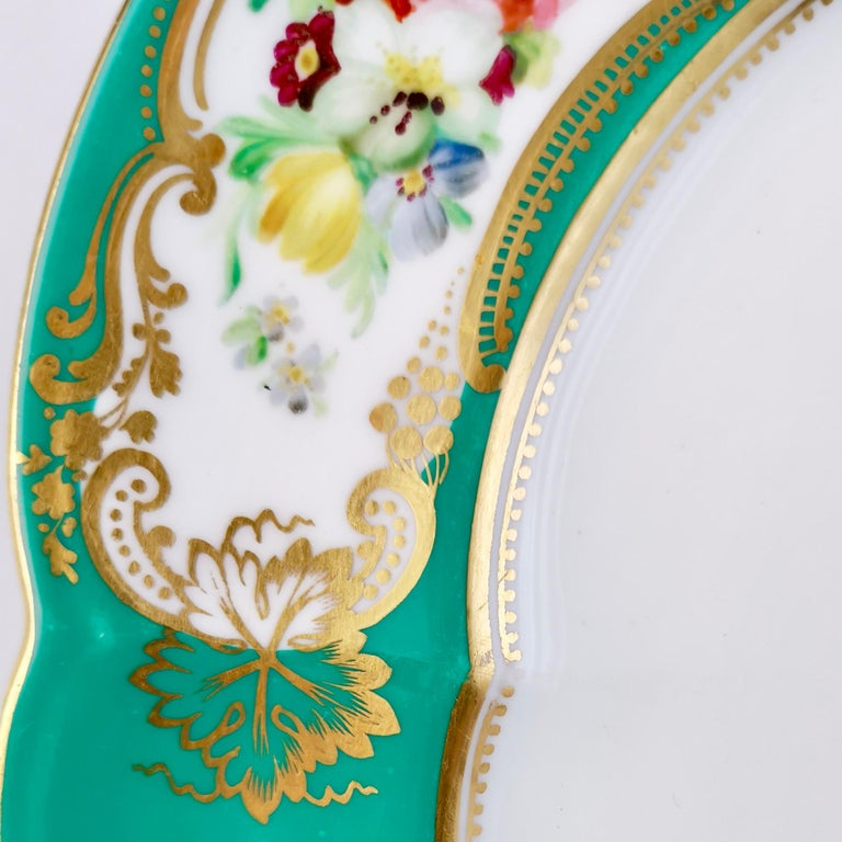 1860s Coalport Dessert Plate, 6-Lobed Teal with Hand Painted Flowers, circa 1860 For Sale