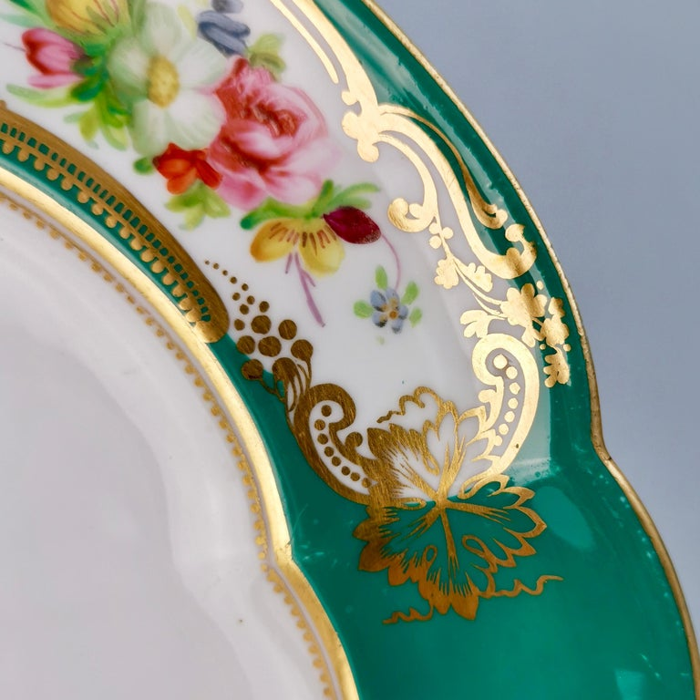 Porcelain Coalport Dessert Plate, 6-Lobed Teal with Hand Painted Flowers, circa 1860 For Sale