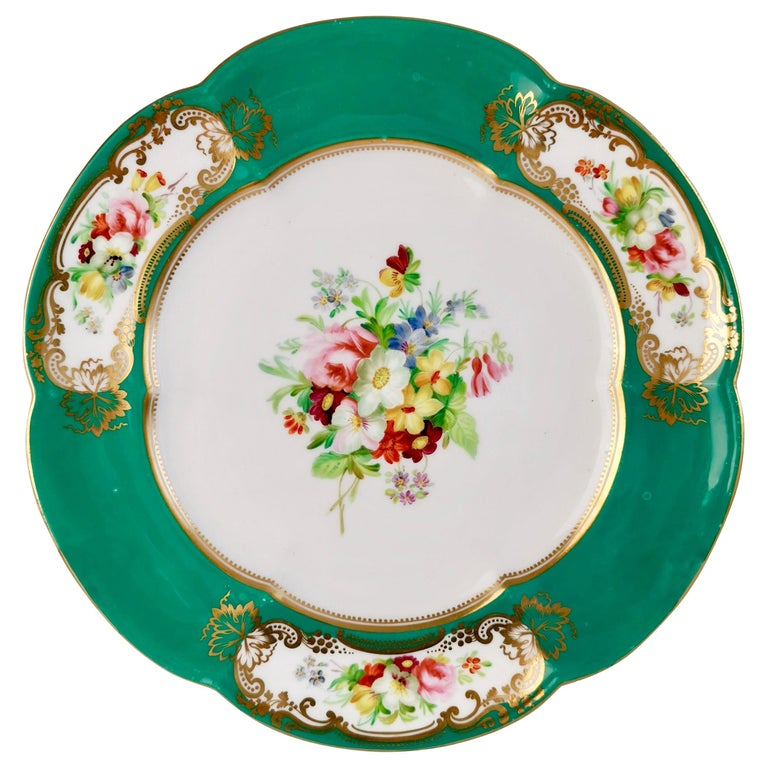 Coalport Dessert Plate, 6-Lobed Teal with Hand Painted Flowers, circa 1860 For Sale