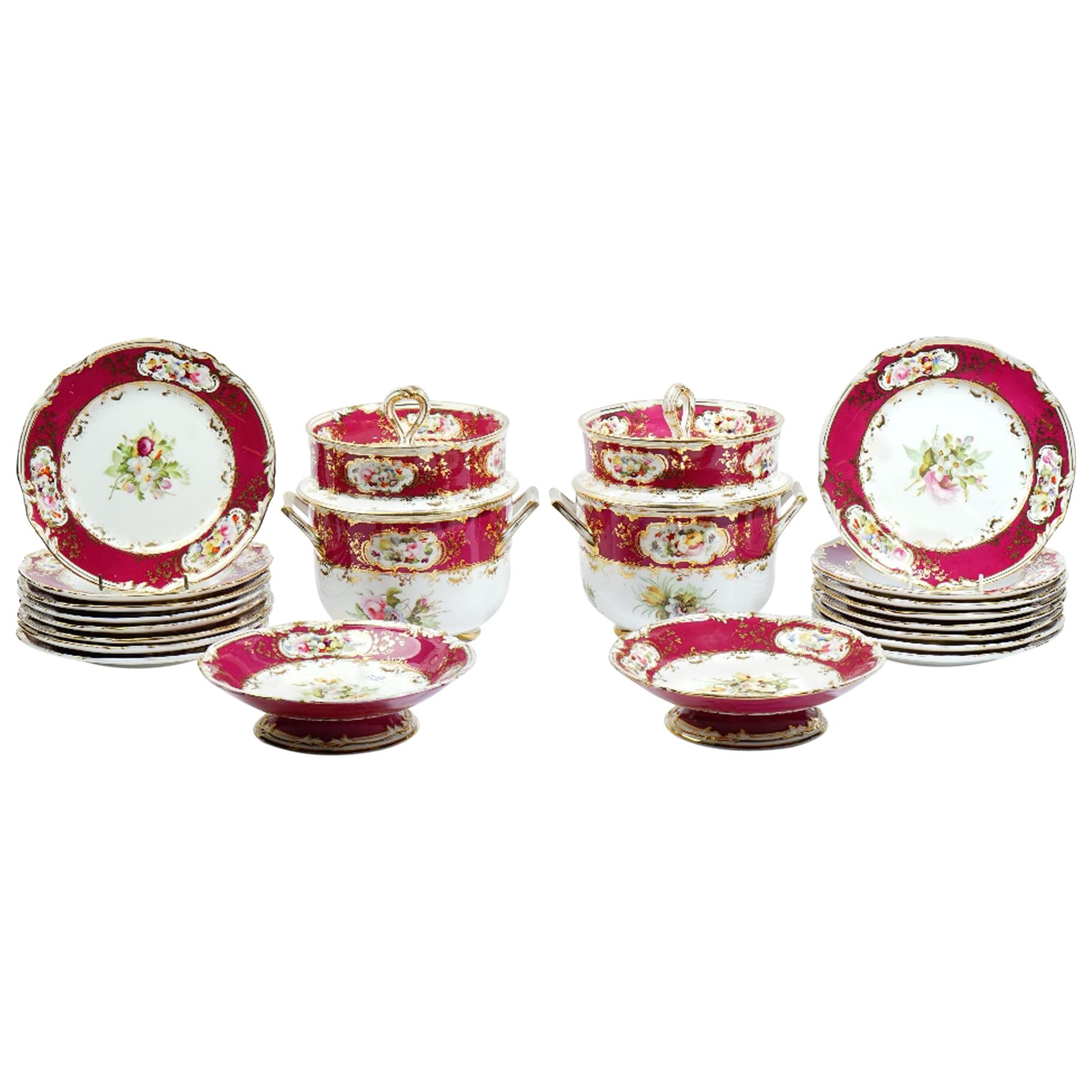English Royal Red Floral Coalport Dessert Service, circa 1840 With Ice Pails