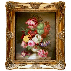 Coalport Framed Porcelain Plaque of Flower Bouquet, Victorian, circa 1840