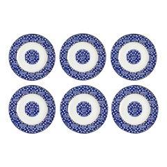 Coalport Fretwork Canton Blue Salad Plates, Set of 6