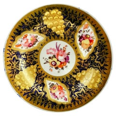 Coalport John Rose Porcelain Plate, Cobalt Blue, Flowers, Gilt Vines, 1805-1810