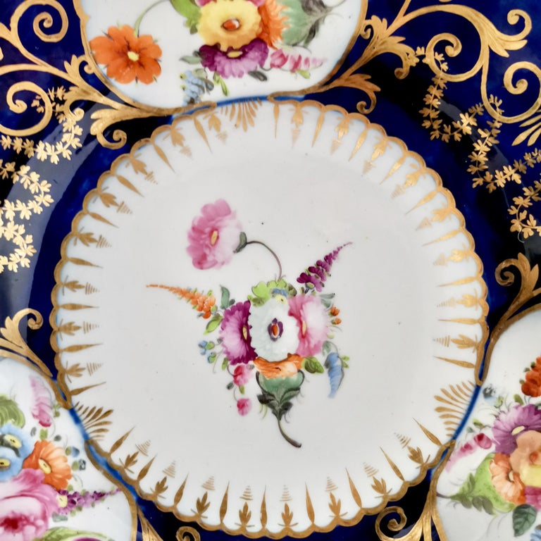 George III Coalport John Rose Porcelain Plate, Cobalt Blue, Gilt, Flowers, Georgian