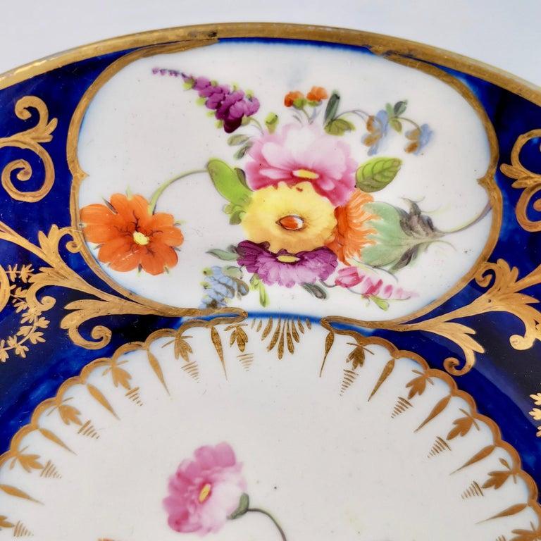 English Coalport John Rose Porcelain Plate, Cobalt Blue, Gilt, Flowers, Georgian