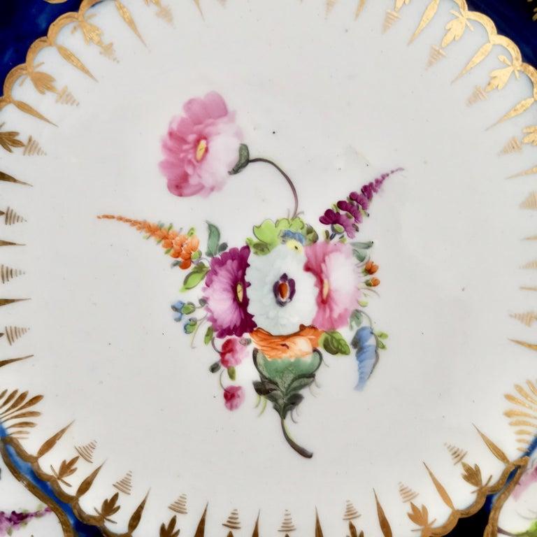 Hand-Painted Coalport John Rose Porcelain Plate, Cobalt Blue, Gilt, Flowers, Georgian