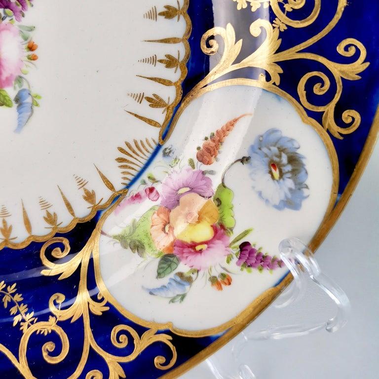 Coalport John Rose Porcelain Plate, Cobalt Blue, Gilt, Flowers, Georgian In Good Condition In London, GB