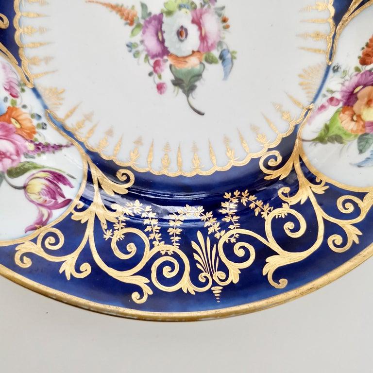 Early 19th Century Coalport John Rose Porcelain Plate, Cobalt Blue, Gilt, Flowers, Georgian