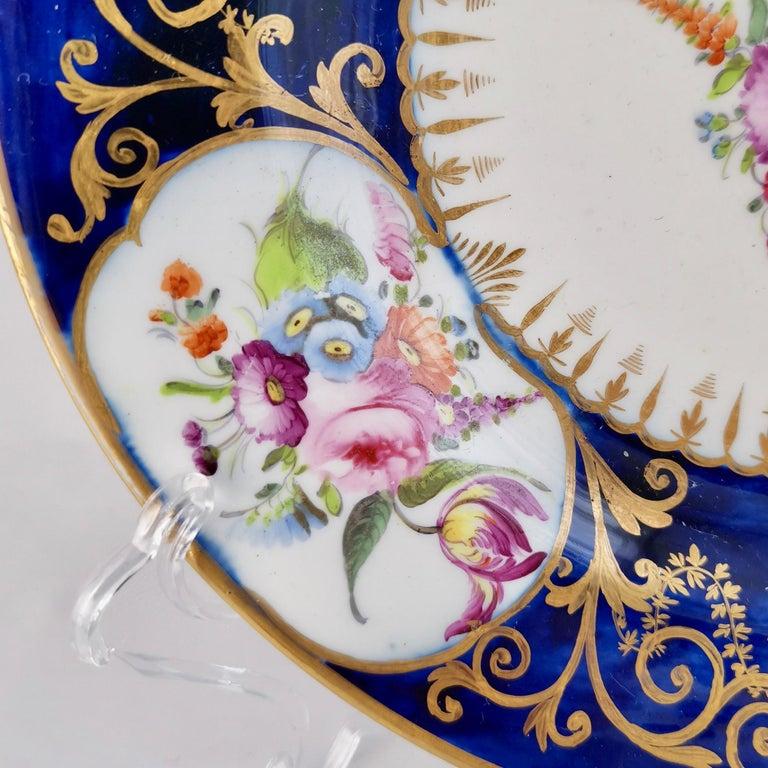 Coalport John Rose Porcelain Plate, Cobalt Blue, Gilt, Flowers, Georgian 1