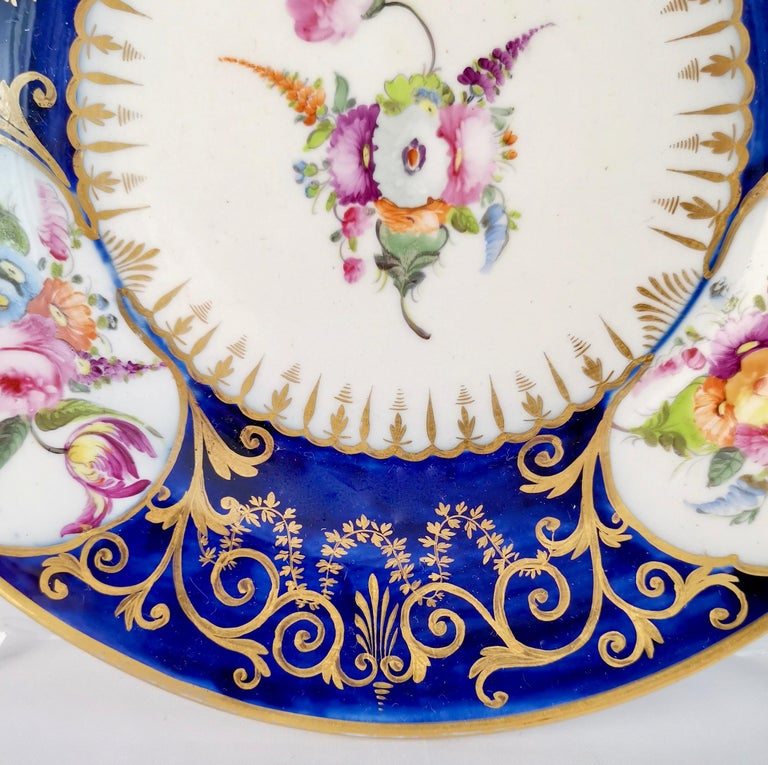 Coalport John Rose Porcelain Plate, Cobalt Blue, Gilt, Flowers, Georgian 2