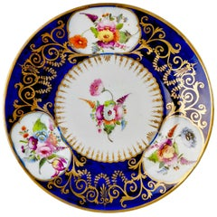 Coalport John Rose Porcelain Plate, Cobalt Blue, Gilt, Flowers, Georgian