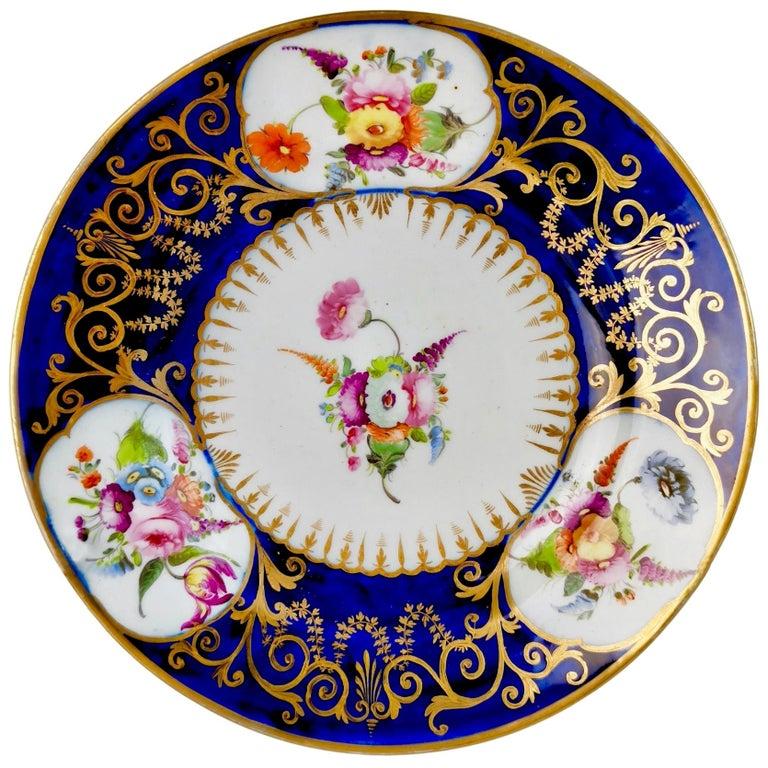 Coalport John Rose Porcelain Plate, Cobalt Blue, Gilt, Flowers, Georgian