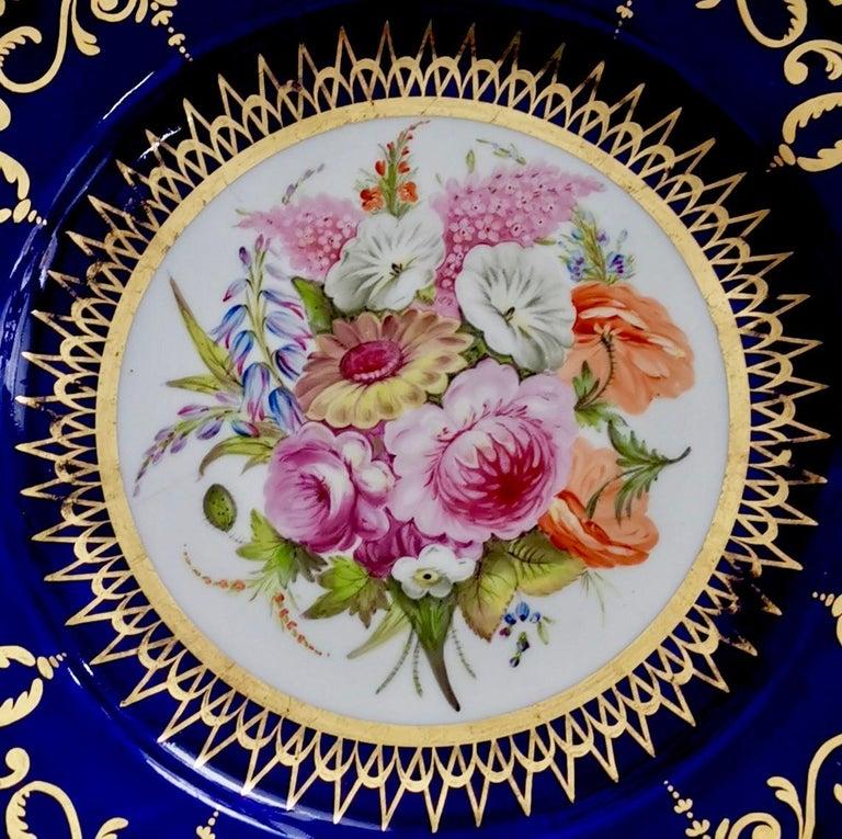 English Coalport John Rose Porcelain Plate, Cobalt Blue and Flowers, Regency 1805-1810 For Sale