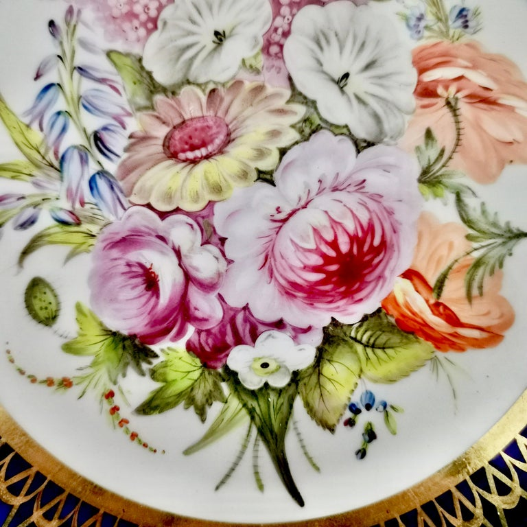 Early 19th Century Coalport John Rose Porcelain Plate, Cobalt Blue and Flowers, Regency 1805-1810 For Sale