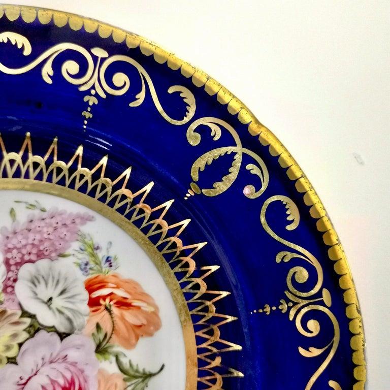 Coalport John Rose Porcelain Plate, Cobalt Blue and Flowers, Regency 1805-1810 For Sale 1