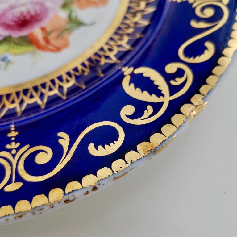 Coalport John Rose Porcelain Plate, Cobalt Blue and Flowers, Regency 1805-1810 For Sale 3