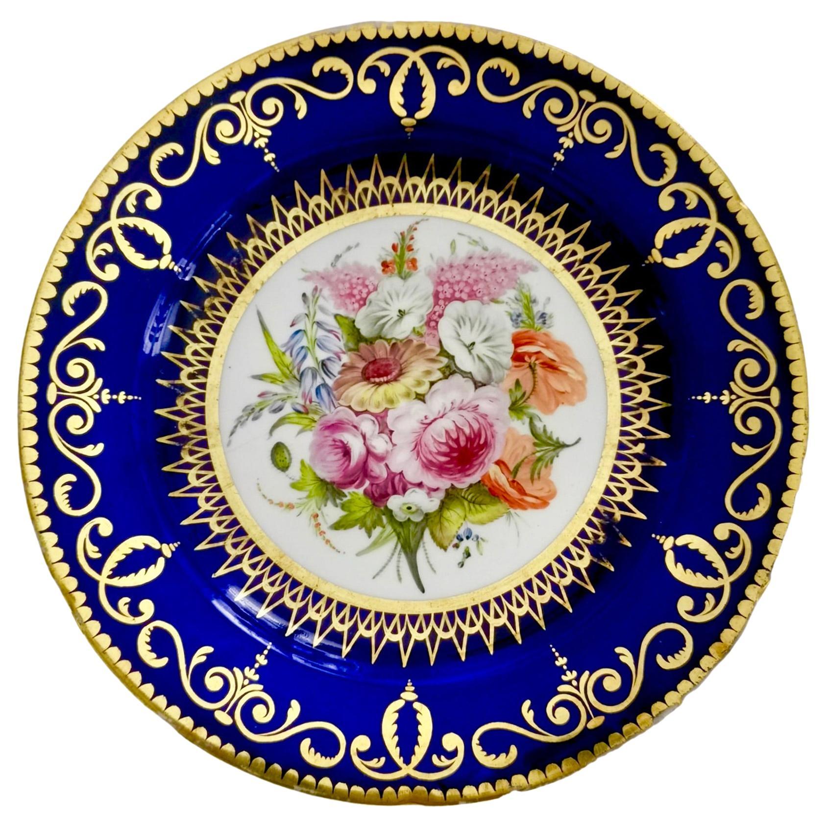 Coalport John Rose Porcelain Plate, Cobalt Blue and Flowers, Regency 1805-1810