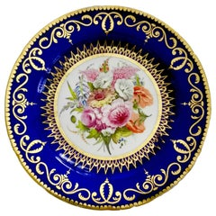 Coalport John Rose Porcelain Plate, Cobalt Blue and Flowers, Regency 1805-1810