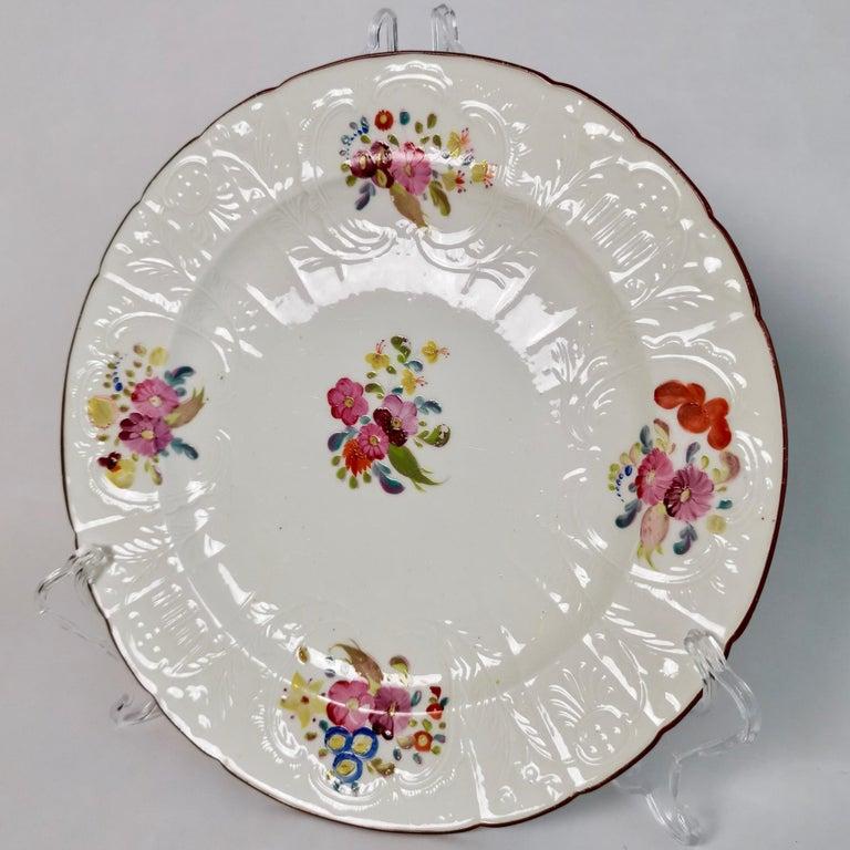 Coalport John Rose Porcelain Plate, White Floral Dulong Blind-Moulded circa 1815 For Sale 4