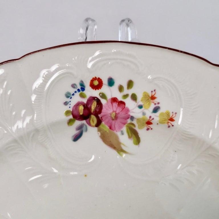 English Coalport John Rose Porcelain Plate, White Floral Dulong Blind-Moulded circa 1815 For Sale