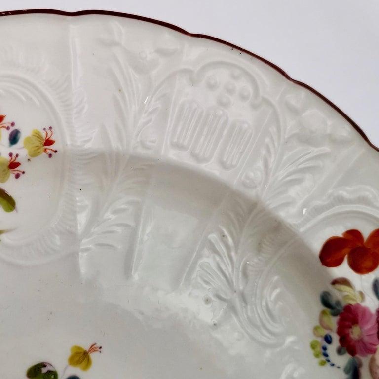 Hand-Painted Coalport John Rose Porcelain Plate, White Floral Dulong Blind-Moulded circa 1815 For Sale