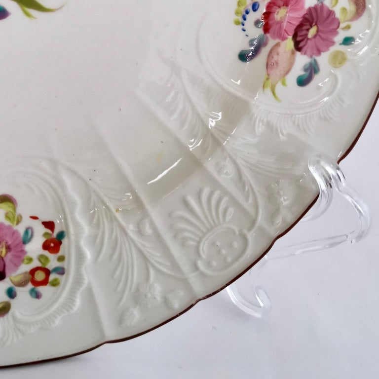 Early 19th Century Coalport John Rose Porcelain Plate, White Floral Dulong Blind-Moulded circa 1815 For Sale