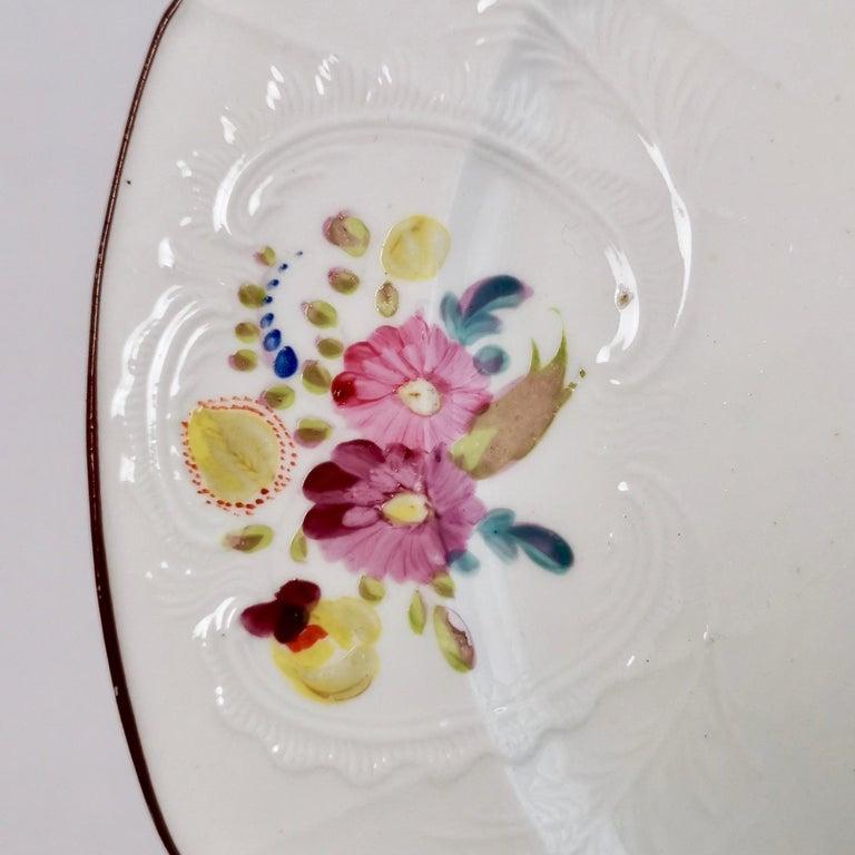 Coalport John Rose Porcelain Plate, White Floral Dulong Blind-Moulded circa 1815 For Sale 2