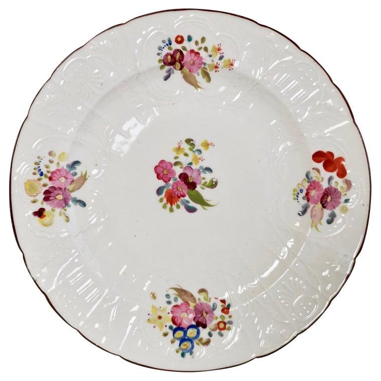 Coalport John Rose Porcelain Plate, White Floral Dulong Blind-Moulded circa 1815 For Sale
