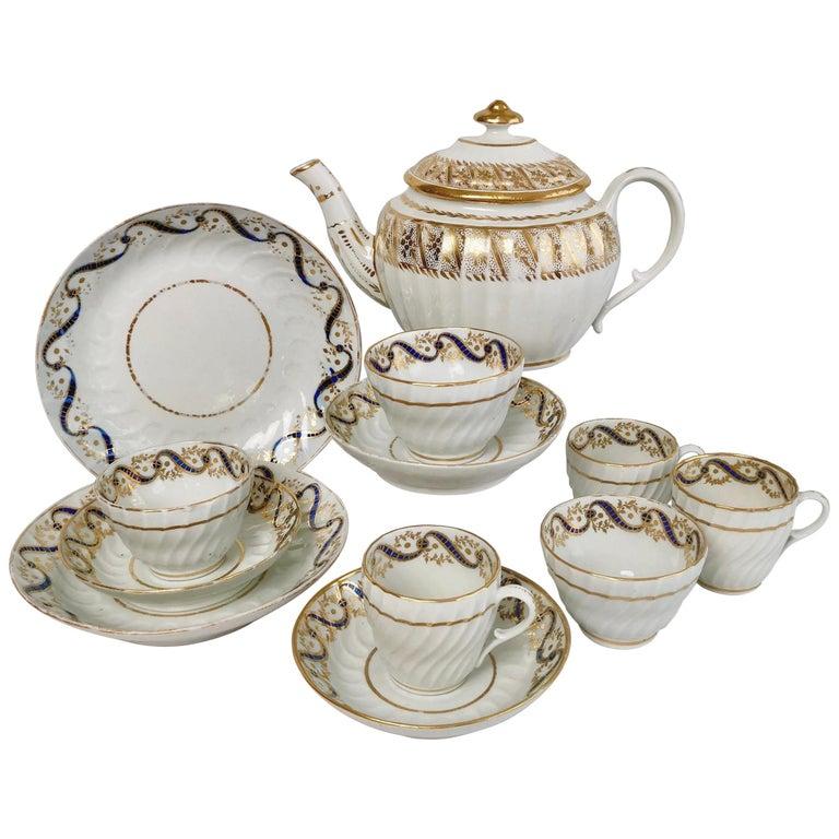 Coalport John Rose Porcelain Tea Service, White and Gilt, Georgian, circa 1795 For Sale