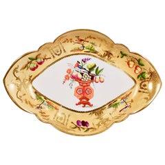 Coalport Porcelain Dish, Yellow with Birds and Fruits, Regency circa 1825