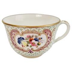 Coalport Orphaned Teacup, Green Dots with Flowers, Regency ca 1820