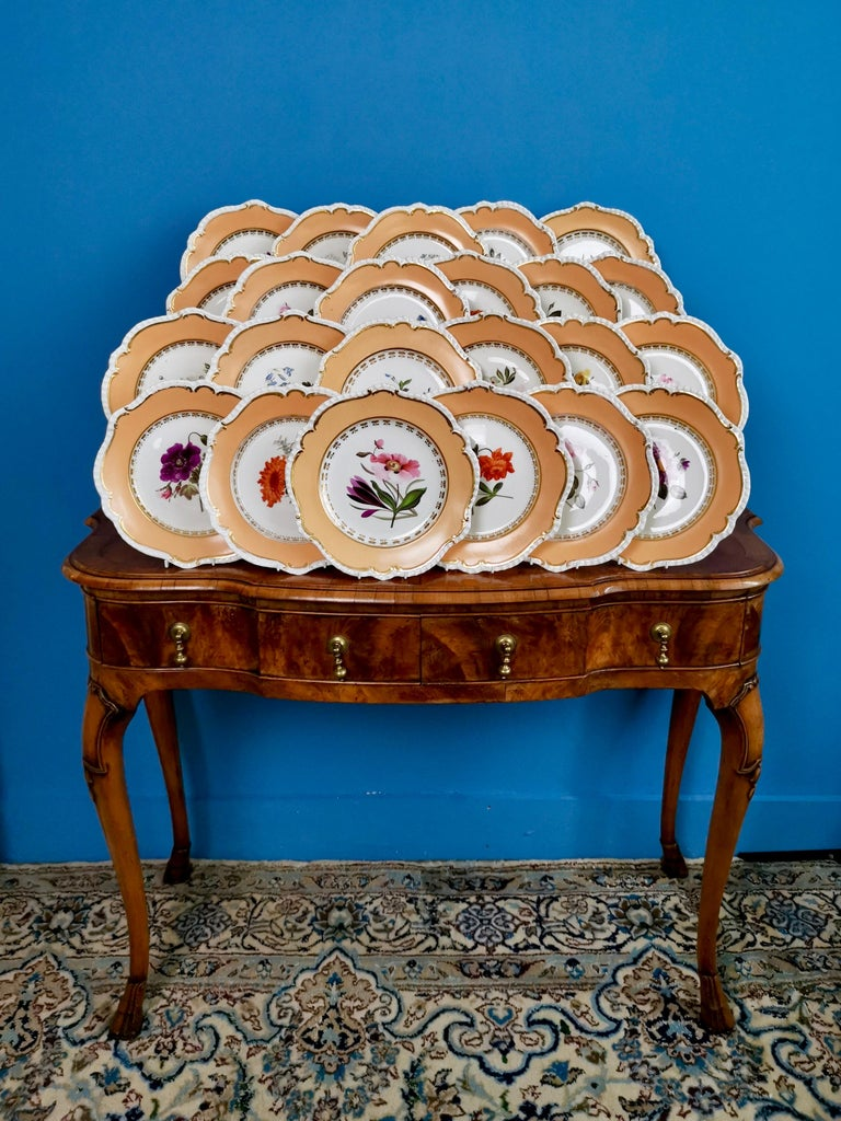 On offer is a rare set of 23 dessert plates made by Coalport between 1820 and 1825. The plates are decorated in a peach ground with stunning botanical paintings attributed to Cecil Jones.  Coalport was one of the leading potters in 19th and 20th