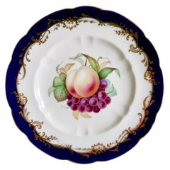 Coalport Plate, Cobalt Blue and Fruits by Jabey Aston, circa 1870
