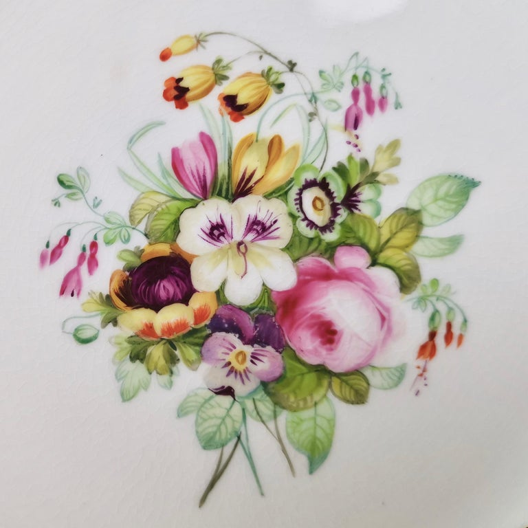 Regency Coalport Plate, Peach with Hand Painted Flowers, Attributed to Thomas Dixon For Sale