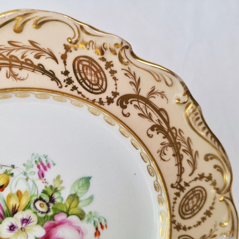 English Coalport Plate, Peach with Hand Painted Flowers, Attributed to Thomas Dixon For Sale