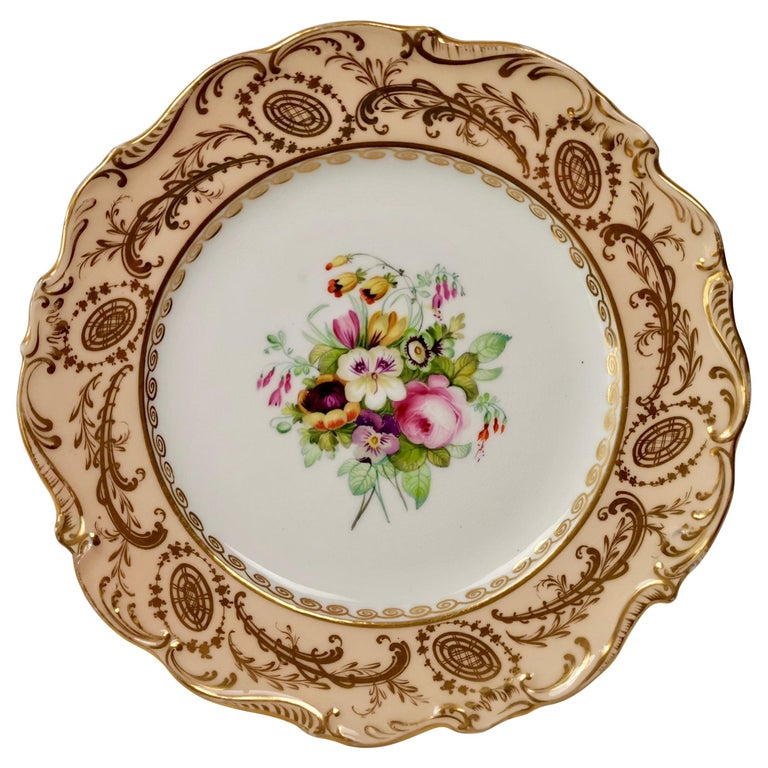 Coalport Plate, Peach with Hand Painted Flowers, Attributed to Thomas Dixon For Sale