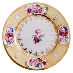 Coalport Plate, Yellow Ground with Hand Painted Flowers, circa 1820