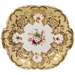 Coalport Porcelain Cake Plate, Beige and Gilt, Flowers by Thomas Dixon, 1837