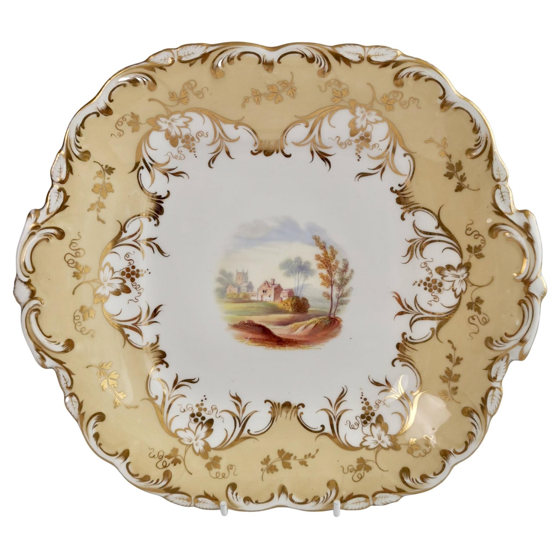 Coalport Porcelain Cake Plate, Beige with Landscapes, Rococo Revival, ca 1840