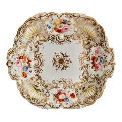 Coalport Porcelain Cake Plate, Gilt, Flowers Attr. T. Dixon, Rococo Revival 1834