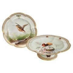 Coalport Porcelain Comport and Plate, Birds by John Randall, Victorian 1865-1870
