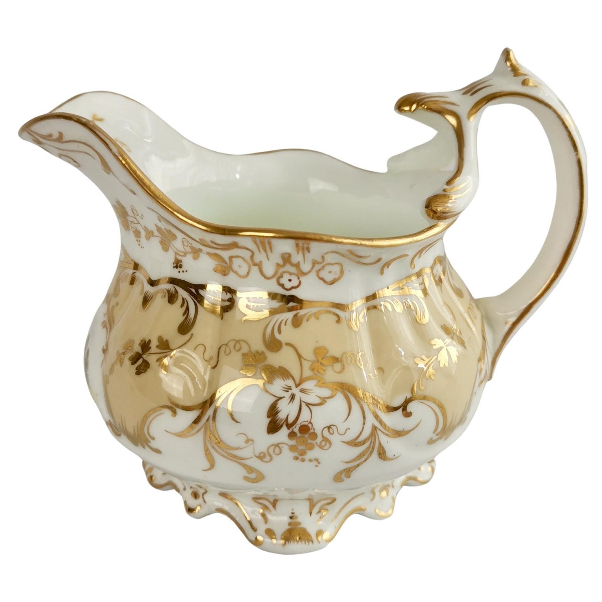 Coalport Porcelain Creamer, Beige with Landscapes, Rococo Revival, ca 1840